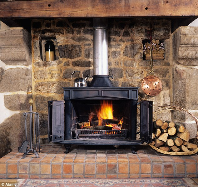Using a wood-burning stove to heat the room you